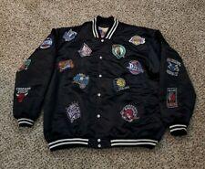 Vintage Jeff Hamilton NBA Black Satin Patch Bomber Jacket Size 2XL