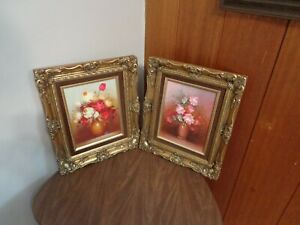 """two vintage 8""""x10"""" Art Paintings Framed Robert Cox Flowers Hall Unknown Rare"""