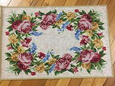 Floral Rose Wreath Tapestry Accent Rug Spring Colorful Flowers Decorative Rug