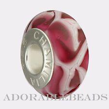 Authentic Chamilia Silver Murano Fuchsia Flames Bead  O-43 *RETIRED*