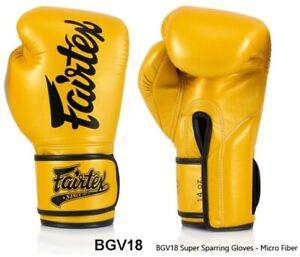 FAIRTEX BOXING GLOVES BGV18 YELLOW GOLD SUPPER SPARRING GLOVES LONG CUFF MMA K1