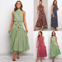 Womens Halter Neck Bohemian Dress Off Shoulder Sleeveless Polka Dot  Beach Dress