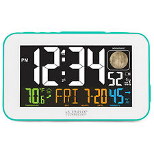 617-1485BL La Crosse Technology Multi-Color Atomic Alarm Clock with USB Charging