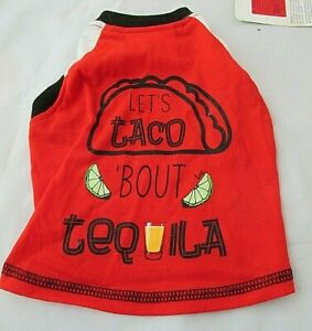 Top Paw Dog Shirt Let's Taco 'Bout Tequila Size Small Red White Blue NWT T-Shirt