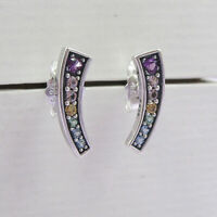 Authentic 100% 925 Sterling Silver Multi Colour Arches Stud Earrings