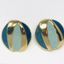 Vintage Earrings Blues Gold Tone Round Small  Studs Costume Jewelry Mid Century