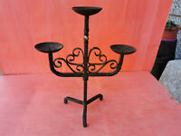 ANTIQUE VERY RARE OLD HAND FORGED WROUGHT CANDLESTICK CANDLE HOLDER IRON massive