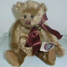 Earnest retired 12in Ganz Cottage Collectibles brown plush bear with bells 1132