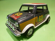 VINTAGE METAL MORRIS MINI COOPER - SUPER RACER - GREY 1:24? - RARE -FRICTION
