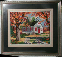 Needlepoint One Room Schoolhouse in Autumn w Frame Glass 19X23 Hand Stitched Big