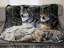 """Northwest Wolf Plush 46"""" x 60"""" Blanket Leaders Of The Pack Wolves"""