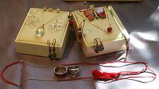 Lot of Sterling Silver & 14K Jewelry 925 Necklace, Earrings, Bracelet ~ Red