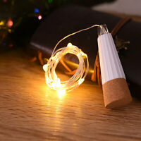 LED Rechargeable Usb Bottle Cork Wire Wedding Xmas Fairy String Lights Lamp VHE