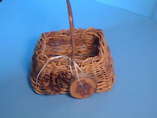 Hand Crafted Basket Made of Sticks with Pine Cone, Hand Painted Bear Plaque!