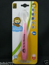 New Yo Yo Monkey One-Piece Silicone Spoon-Gentle on Baby's Mouth-BPA Free-Pink