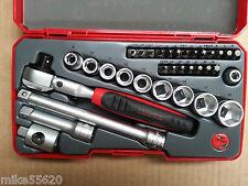 """TENG TOOLS SOCKET SET 3/8""""Dr 34 Pc FLEX HEAD RATCHET,SOCKETS, BITS + ACCS T3834S"""
