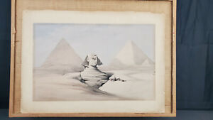 Rare! David Roberts 1839 Color Lithograph - The Great Sphinx, Pyramids of Gizeh!