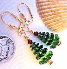EARRINGS Crystal Christmas Tree USA Kirsten Handmade Gold LVRBK w Gift Bag