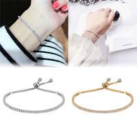 1pcs Women Gold Silver Rhinestone Crystal Adjustable Bangle Cuff Bracelet