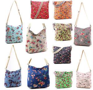 Womens Large Canvas Cross Body Bag Flower Butterfly Owl Messenger Shoulder Bags