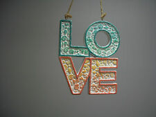 Love Blue Pink White Glitter Hanging Sign Nautical Shells Valentine Ornament Nwt