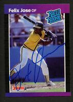Felix Jose #38 signed autograph auto 1989 Donruss Baseball Trading Card