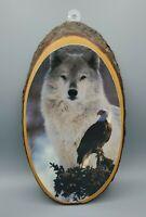 Vintage Cut Wood slice Plaque Yellowstone National Park wolf Eagle USA souvenir