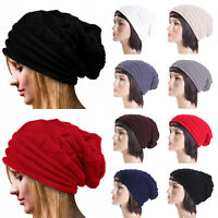 Unisex Men Women Winter Warm Knitted Crochet Beanie Hat Slouch Oversized Ski Cap