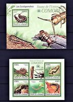 COMORES 2009 - LES SCOLOPENDRAS INSECTS NATURE M/S + S/S MNH**