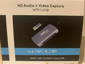 4K USB VIDÉO CAPTURE CARD WITH 3.5 Mm Mic In & Audio Out; 1080p: USB to HDMI