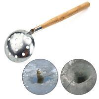 Tackle Ice Fishing Spoon Iron Tooth Wood Handle Fishing Slag Spoon Supply WE