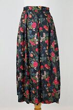 SUSAN BRISTOL Vintage Floral Wool Blend Pleated Long Midi Skirt 6 S Made in USA