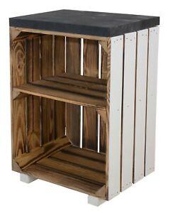 Moderner Nachttisch mit zwei Fächern, 40x57x30cm Weinkisten Paletten
