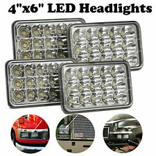 4Pcs LED 4x6 inch Rectangular Projector Halo LED Headlights Hi Low Beam DRL Lamp