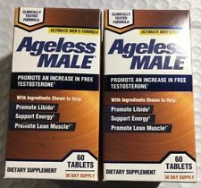 (2) Bottles: Ageless Male Free Testosterone Booster by New Vitality 120 Tabs