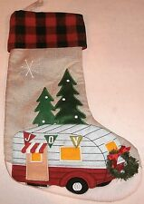 """Christmas Stocking CAMPER UNDER THE STAR AND TREES 19""""x 11""""  3""""Loop for Hanging"""