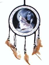HOWLING WOLF & MOON DREAM CATHER with feathers 18 IN dreamcather wild animal new