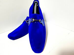 Men's Blue Rubber Suede Horsebit Loafers