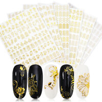 Gold Flower 3D Nail Stickers Transfer Decals Nail Art Decoration Tip Big Sheet