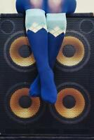 Woman in Blue Argyle Socks Sitting on Bass Photo Art Print Poster 24x36 inch