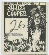 ALICE COOPER Raise Your Fist & Yell Tour Genuine All Access BACKSTAGE PASS 1987