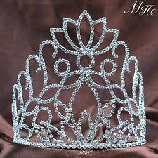 Flower Pageant Tiaras Hair Combs Wedding Bridal Crowns Clear Rhinestone Headband