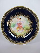 Dresden Lamm Handpainted Cobalt Cherub Portrait Plate, signed Zatzka
