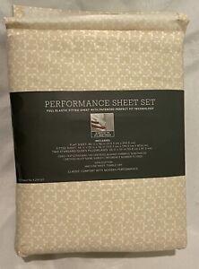 Threshold PERFORMANCE Full Sheet Set LEAF DITSY ~ Tan & Leaf White 400 Thread Ct