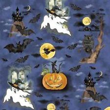 SPOOKY OWLS GHOSTS BATS FRIGHT NIGHT HALLOWEEN FABRIC