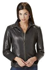 Women's Excelled Lambskin Leather Scuba Jacket Black L #NK8T7-908