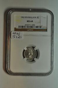 mw5121 Malaya; 5 Cents 1961 KN  NGC MS64