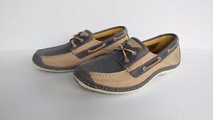 TIMBERLAND Men's Annapolis 2 Eye Blue Leather/Canvas Shoes NIB Sizes 8-12