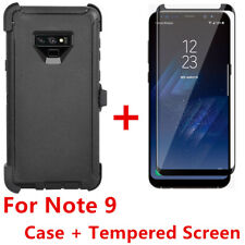For Samsung Galaxy Note 9 Case W/Screen (Belt Clip Fits Otterbox Defender) BLACK