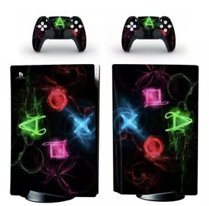 PS5 Console Wrap PS Neon Logo Symbols Sticker skin- Sony PlayStation 5 Disk Ed